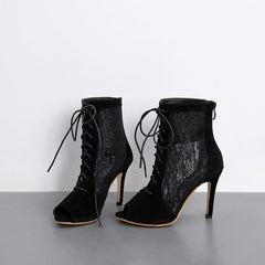 4d6d9115635 ... MONMOIRA Black Lace Sexy Women Pumps High Heels Peep Toe Lace up  Cross-tie Gladiator