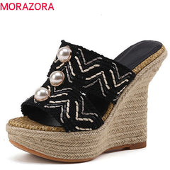 MORAZORA 2018 new arrive women slippers fashion hemp summer shoes elegant Pearl shallow party comfortable wedges mules shoes