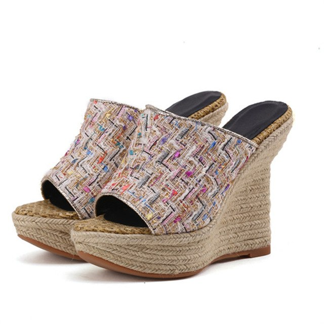 bf4e1a20c ... MORAZORA 2018 new arrive women slippers fashion hemp summer shoes  elegant mixed colors casual comfortable wedges