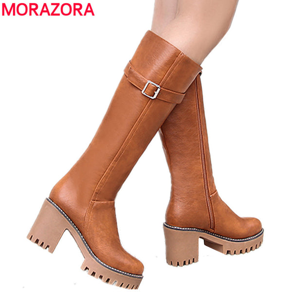 MORAZORA 2019 New Retro women boots lace up buckle lace up knee high boots round toe platform winter boots ladies shoes size 43