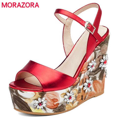 MORAZORA Super heels shoes woman in summer genuine leather shoes buckle platform women sandals party shoes top quality fashion