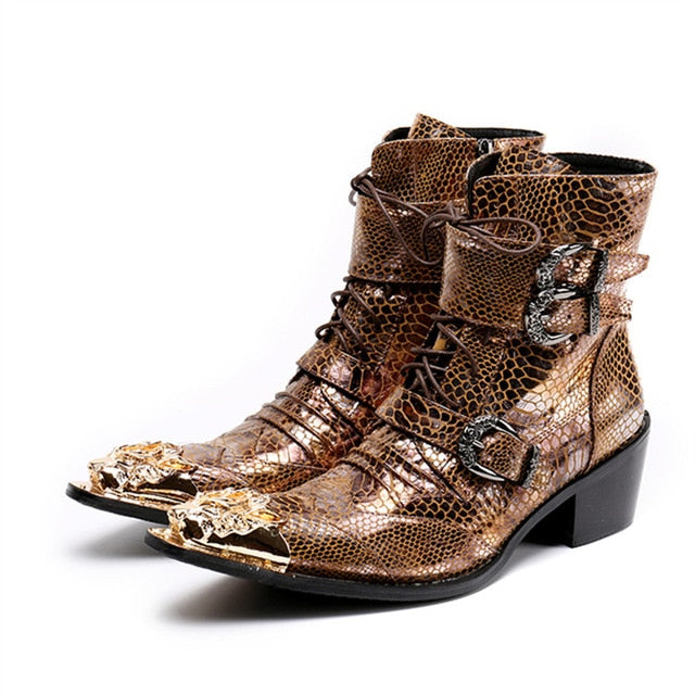 87a06fe8d5 Mabaiwan 2018 Gold Dragon Pointed Toe Punk Style Men Shoes Military Cowboy  Ankle Boots Lace Up. Hover to zoom