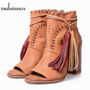 55925b62d7 Mabaiwan Brown Design Summer Ankle Boots Tassel Sandals Thick High Heels  Genuine Leather Dress Shoes Women ...