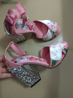 Macytino Flower Printed Sandal Chunky Heels Crystal High Heel Shoes Summer Casual  Sandals Real Pictures
