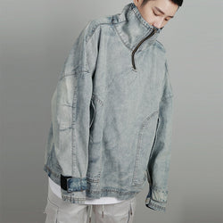 Male Hip Hop Streetwear Denim Jacket Pullover Jackets Men Stand Collar Zip Up Track OVERSIZE Loose Shoulder Retro Jacket Men 186