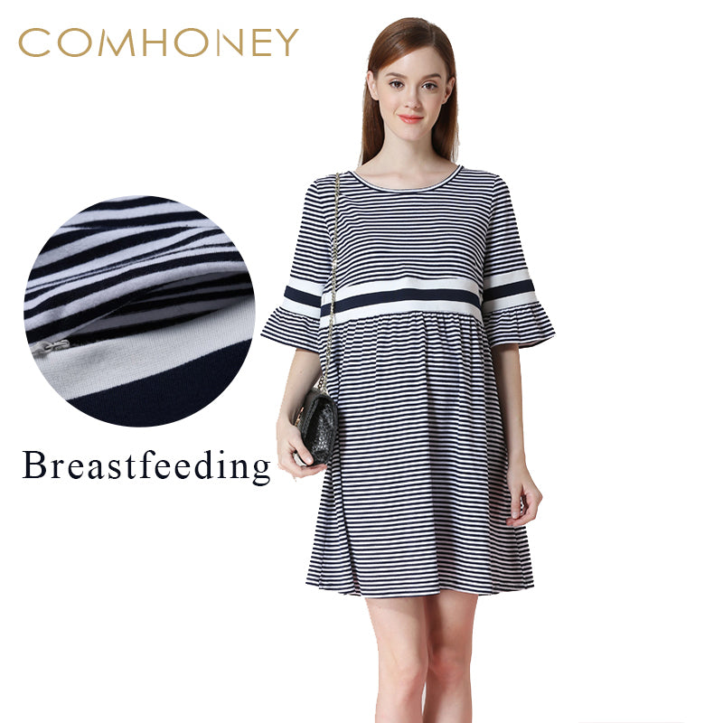 8c0064d1825ce ... Breastfeeding Dress Pregnancy Women Clothing Blue Striped Clothes  Mummy. Hover to zoom