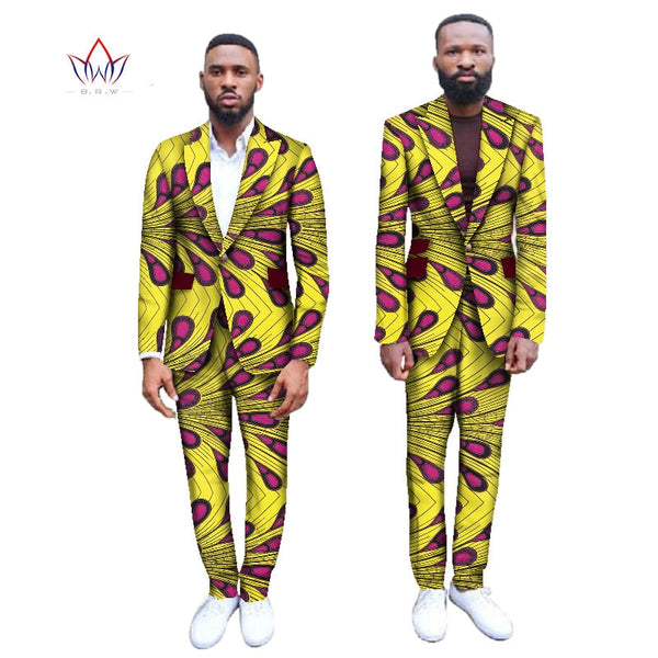 Men Blazer Suits Jackets Pants Set African Print Men Suits Fashion Business Dress Wedding Suits Blazer Plus Size WYN255