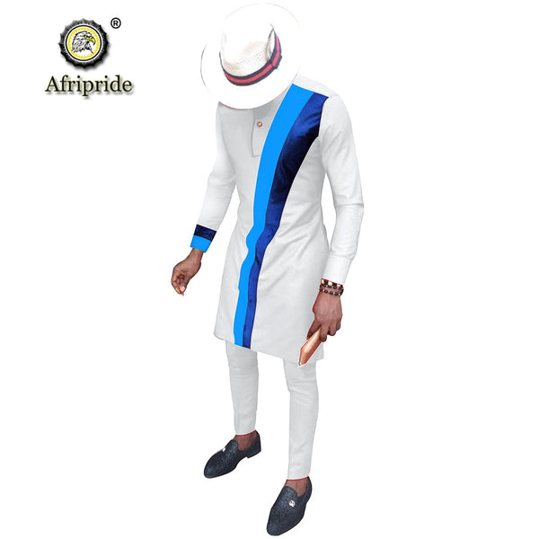 Men`s Casual African Clothing Long Sleeve Shirts and Pants Suit Dashiki Outfits Ankara Attire Plus Size AFRIPRIDE S2016002