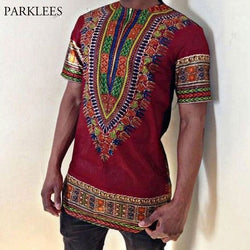Mens Hipster Zipper Dashiki T-shirt 2018 Brand New African Print Mens T Shirts Slim Fit Short Sleeve Tribal Gypsy Ethnic Tee Top
