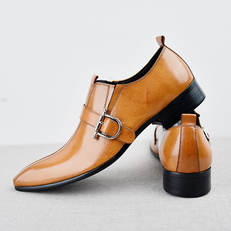 82cb78727479 Mens Real Leather Dress Buckle Wedding Formal Pointy Toe Business British  Shoes Low Heel Business C319 ...