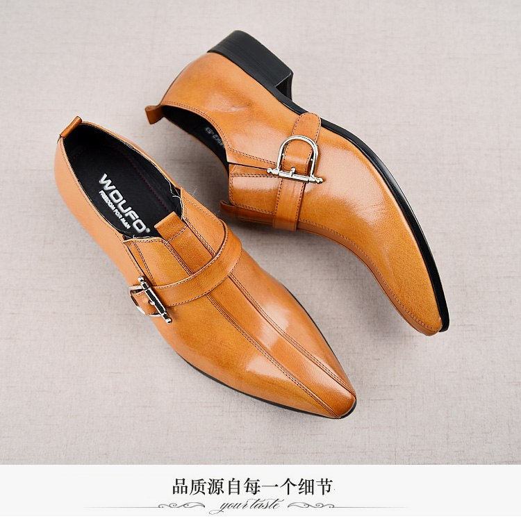 b71a93a46cd1 ... Mens Real Leather Dress Buckle Wedding Formal Pointy Toe Business  British Shoes Low Heel Business C319 ...