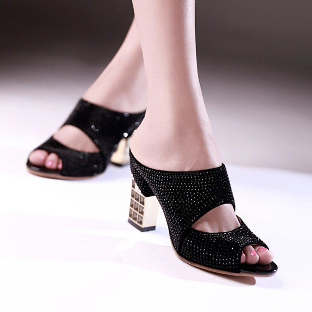 5179ea444e Meotina Promotion Sexy Women Shoes Summer Peep Toe Slides Party Evening  Chunky High Heels Slipper Crystal Silver Ladies Slides