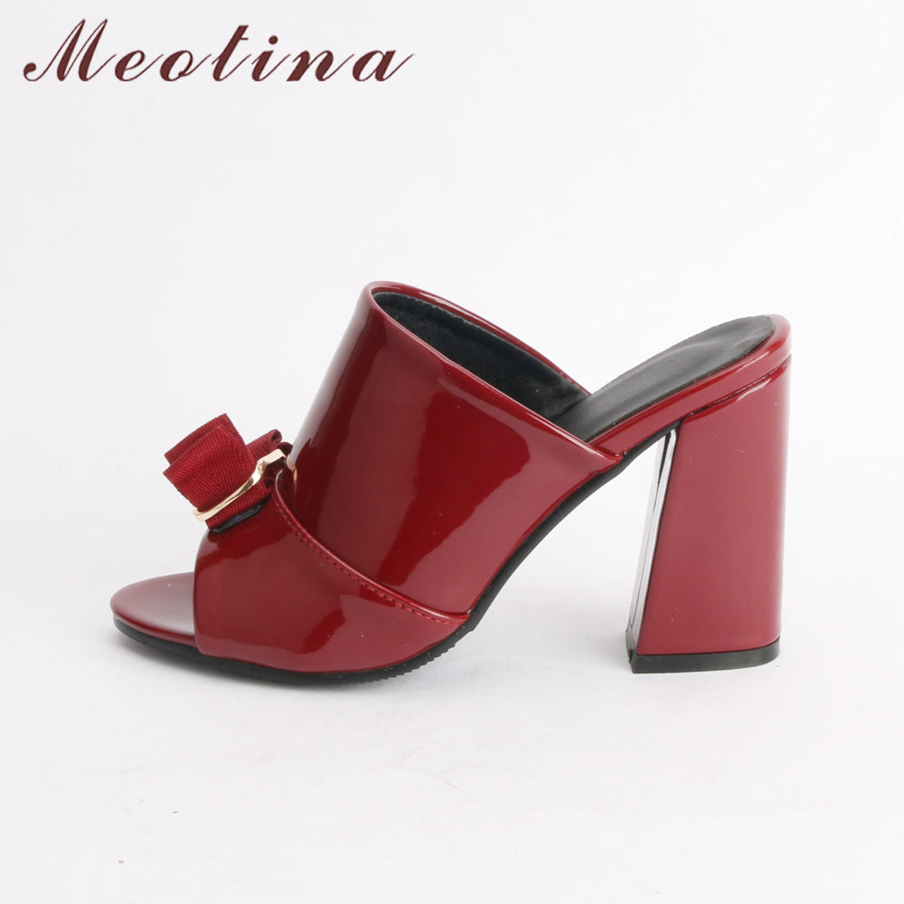 e85f9983b8c1 ... Toe Ladies Party Shoes Bow Block Heel Female Slipper. Hover to zoom