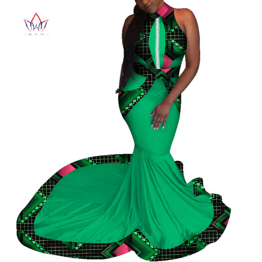 Mermaid African Dresses New Arrival sleeveless Floor Length Women Formal Occasion Dress Africa Evening Gowns for Women WY4649