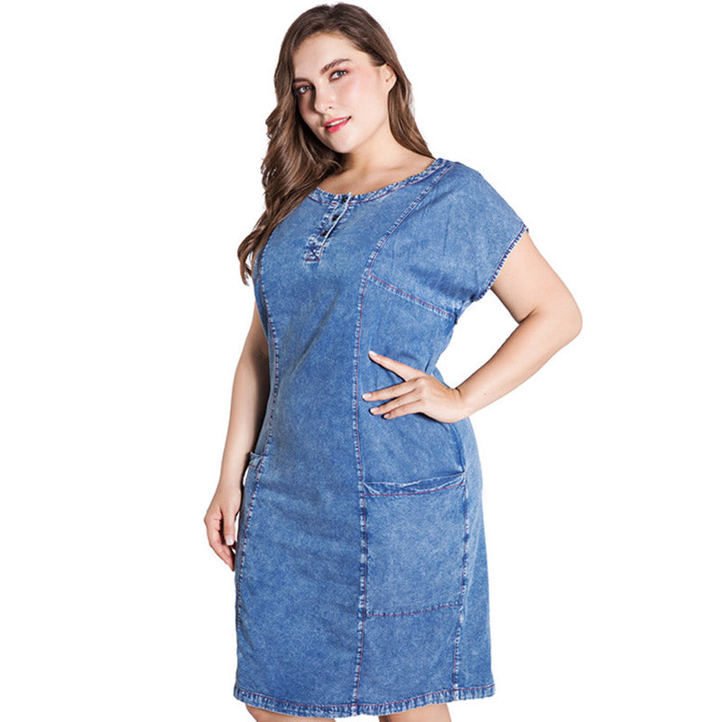 ff0a608bd1 Miaoke 2018 summer plus size denim dress for women clothes 4xl 5xl 6xl Long  section short. Hover to zoom