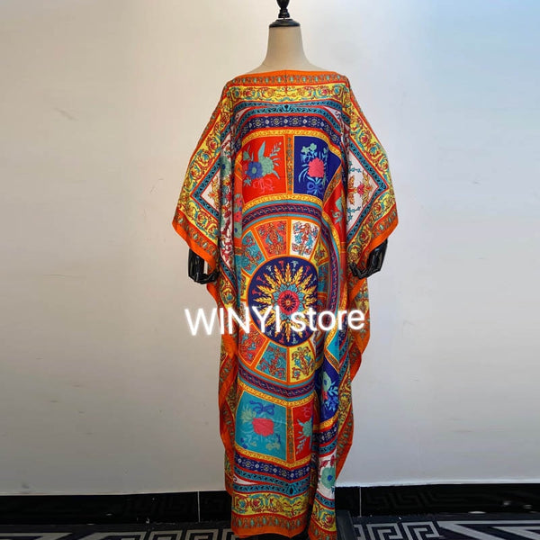 Middle East Dashiki Dress Print Bohemia Hijab Loose Elegant Muslim Abaya Bazin Robe Gown Broder Riche Sexy Lady Party maxi beach
