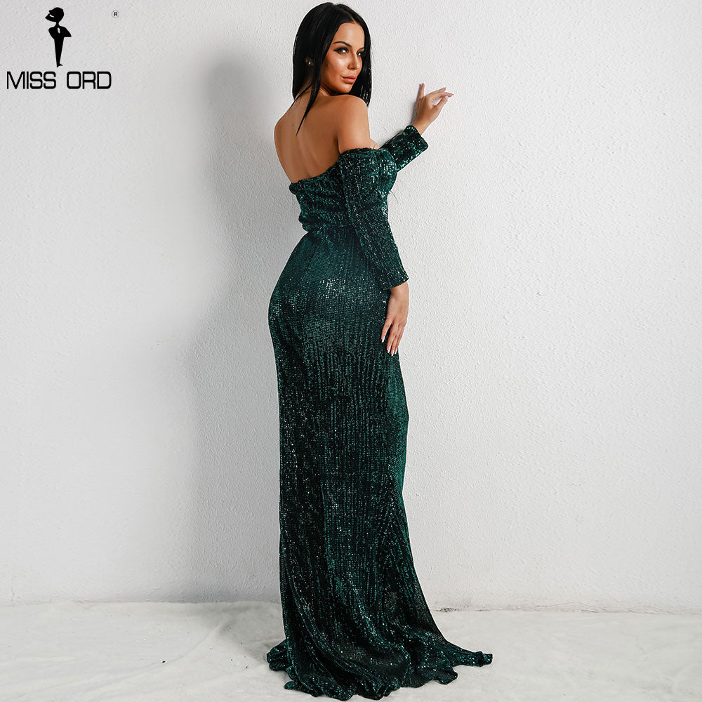 3884204b8aaba ... Missord 2018 Sexy BRA Long Sleeve Off Shoulder Sequin Backless Dresses  Women Skinny Maxi Party Elegant