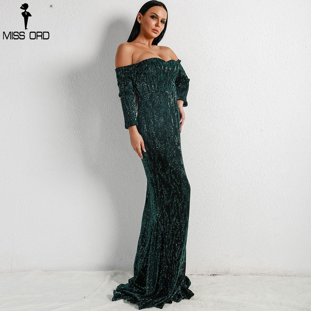 ... Missord 2018 Sexy BRA Long Sleeve Off Shoulder Sequin Backless Dresses  Women Skinny Maxi Party Elegant ... 0397c8dce9f0