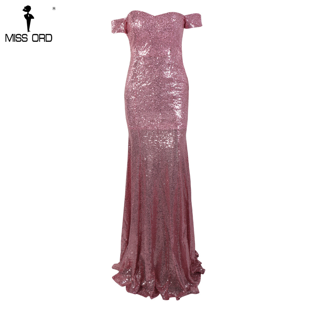 442a79f854 Missord 2018 Sexy BRA Off Shoulder Sequin Vestidos Backless Pink Color  Women Maxi Party Dress FT8415-1
