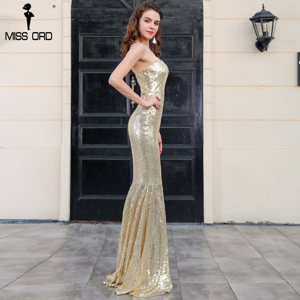 0ac6fafbee9 Missord 2018 Sexy BRA sleeveless backless split sequin maxi dress FT4797.  Hover to zoom