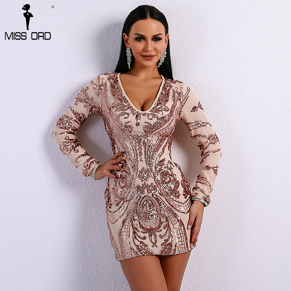 7647f8f8ffba Missord 2018 Sexy Deep V Long Sleeve Geometry Sequin Gold Color Women  Elegant Dress FT8671. Hover to zoom