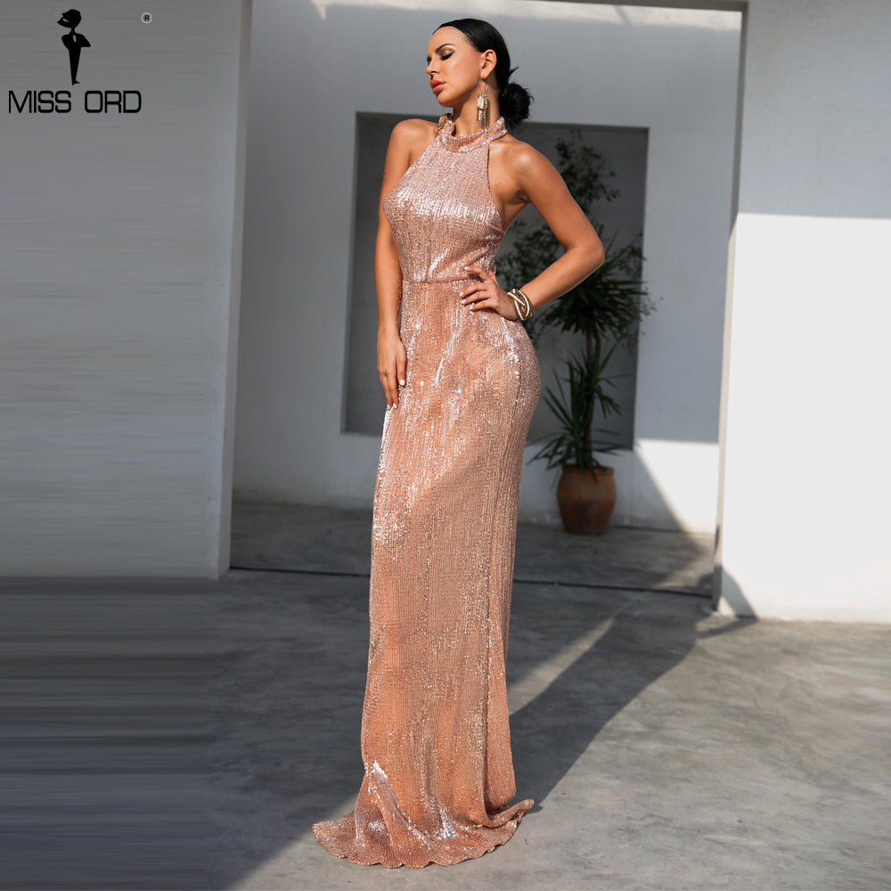 aa1b97f1a0 Missord 2018 Sexy High Neck Off Shoulder Backless Dresses Female Sequin  Maxi Elegant Party Bodycon Dress Vestdios FT18408-1