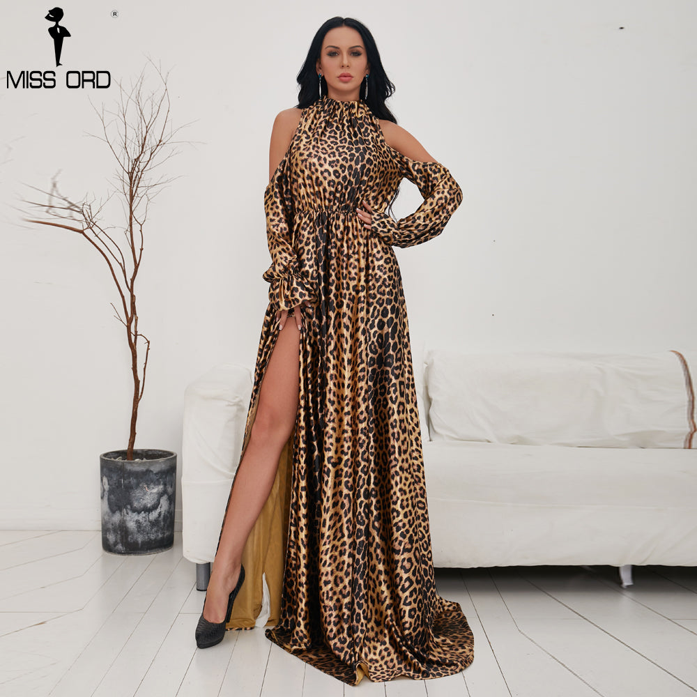 8c86833f75f9 Missord 2018 Sexy High Neck Off Shoulder Long Sleeve Dresses Female Leopard  Print High Split Maxi. Hover to zoom