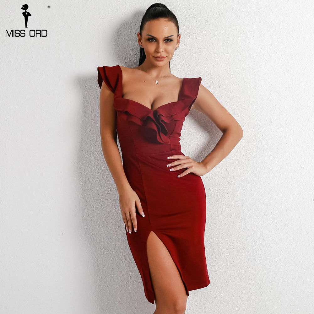 8269bef0b30e ... Off Shoulder Elegant Deep V Party Dresses Women Ruffle Wave Edge Red.  Hover to zoom