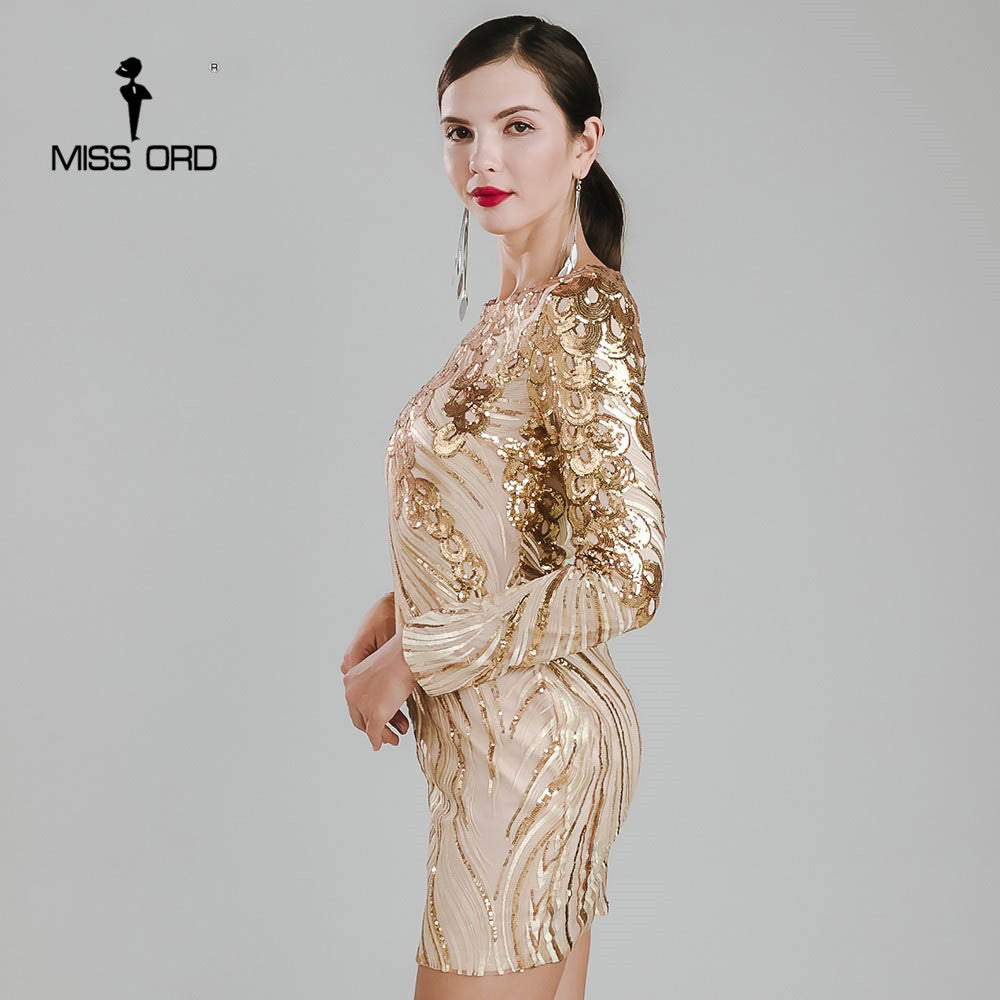 c0a2985d4c Missord 2018 Sexy O-neck long sleeve tight retro sequin Dress FT4926. Hover  to zoom
