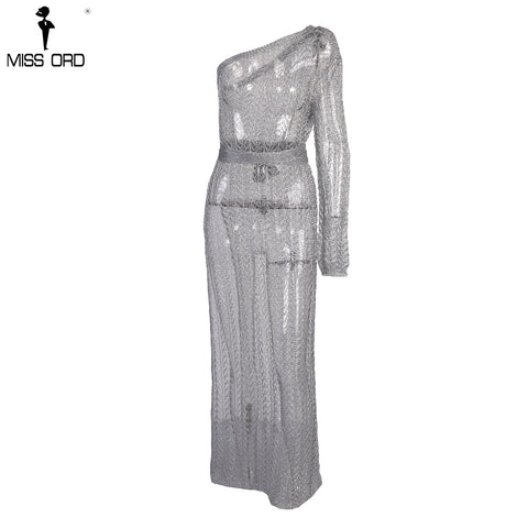 ff86ba81eeb9 ... Image of Missord 2018 Sexy One Shoulder Irregular Neck Dress Female  Knitted Hollow Out Bodycon Party ...