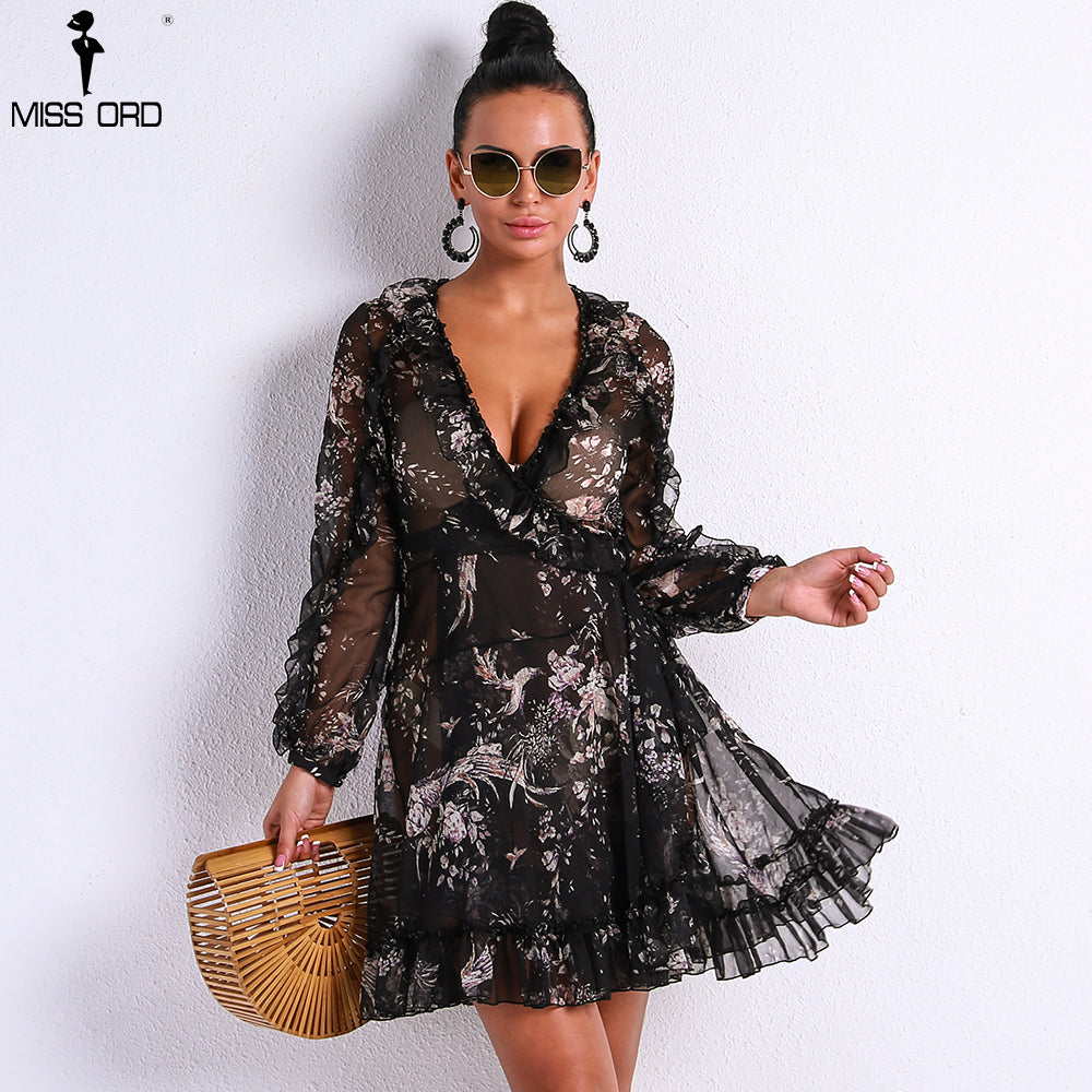40535a42be1a Missord 2018 Sexy Sexy V Neck Long Sleeve See Through Dresses Female  Elegant Mini Party Dress. Hover to zoom
