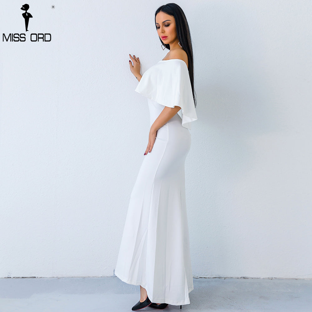 f098f140394 ... Off Shoulder Ruffle Summer White Elegant Maxi Dress FT8539. Hover to  zoom