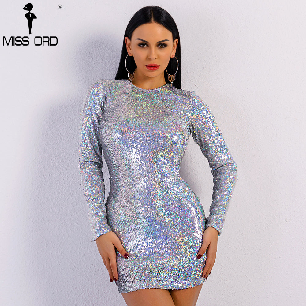 c98d9f2f3406 Hover to zoom · Missord 2018 Sexy Spring and Summer Bandange Dress Long  Sleeve Sequins Dresses Female O Neck Elegant