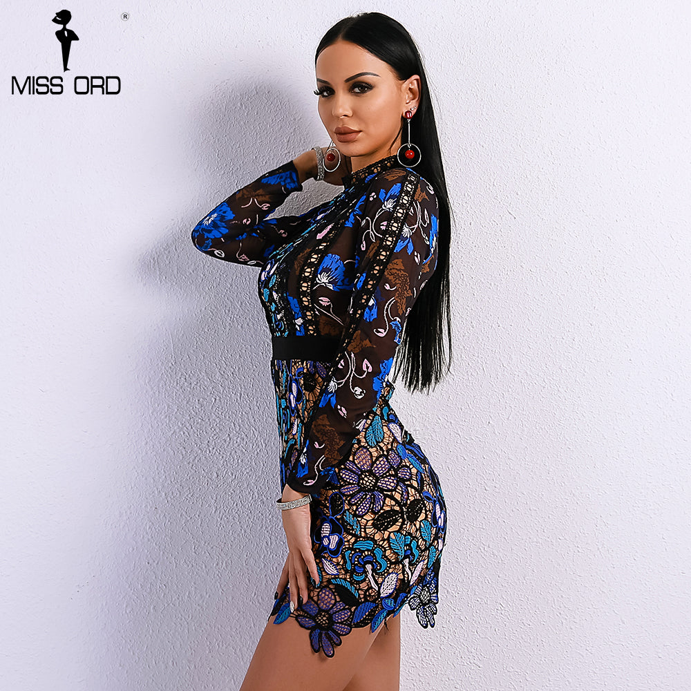 b8071e017707 Missord 2018 Sexy Spring and Summer O Neck Elegant Patchwork Hollow ...
