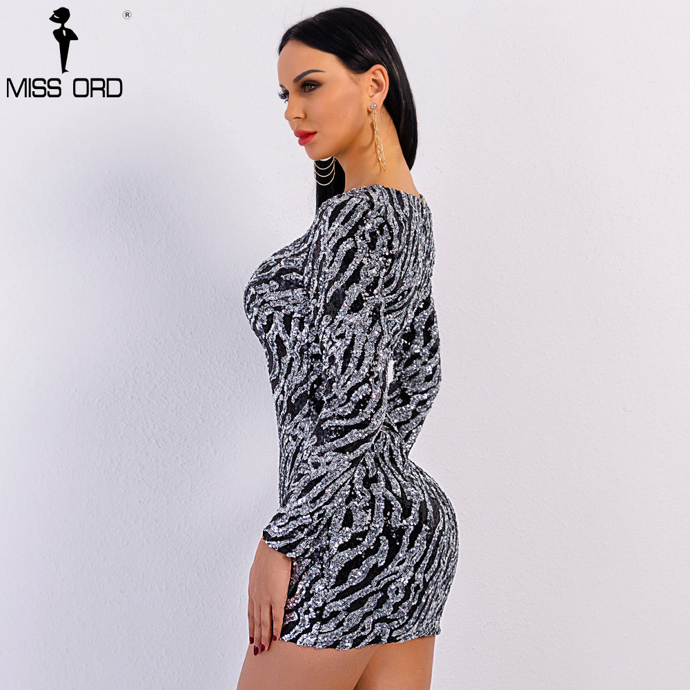 c62292e1bb92 Hover to zoom · Missord 2018 Sexy Spring and Summer O Neck Long Sleeve  Sequin Dress Female Elegant ...