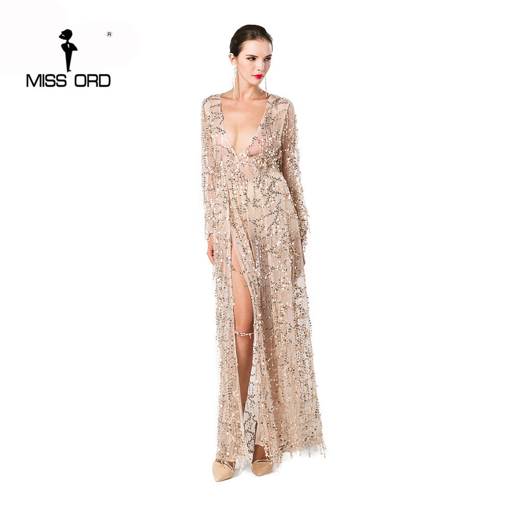 514c30d99213 Missord 2018 Sexy long sleeve deep V two split sequin maxi dress FT2901-1.  Hover to zoom