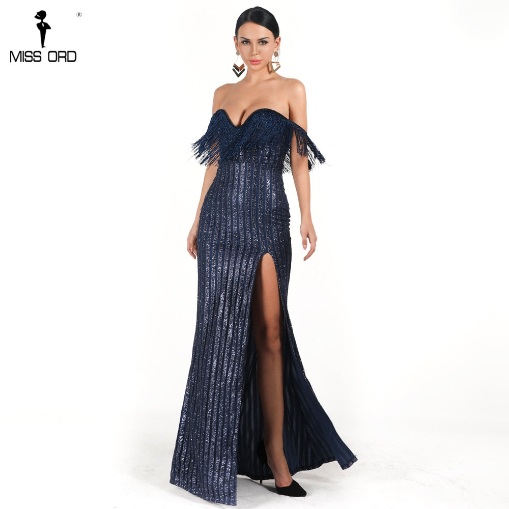bfc121e9 Missord 2019 winter xmas Sexy Elegant V Neck Tassel Off Shoulder Glitter  one side High Split