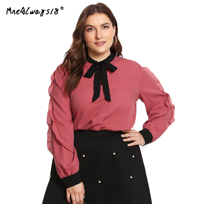 0640b6c336e822 Hover to zoom · Mnealways18 Plus Size Women Sweet Bow Tie Neck Ruffles Chiffon  Shirts Pink Frill Shirts Long Sleeve
