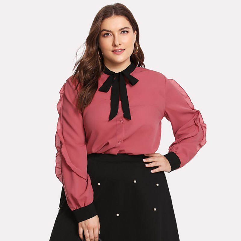 1c1e3a21cd6 ... Mnealways18 Plus Size Women Sweet Bow Tie Neck Ruffles Chiffon Shirts  Pink Frill Shirts Long Sleeve