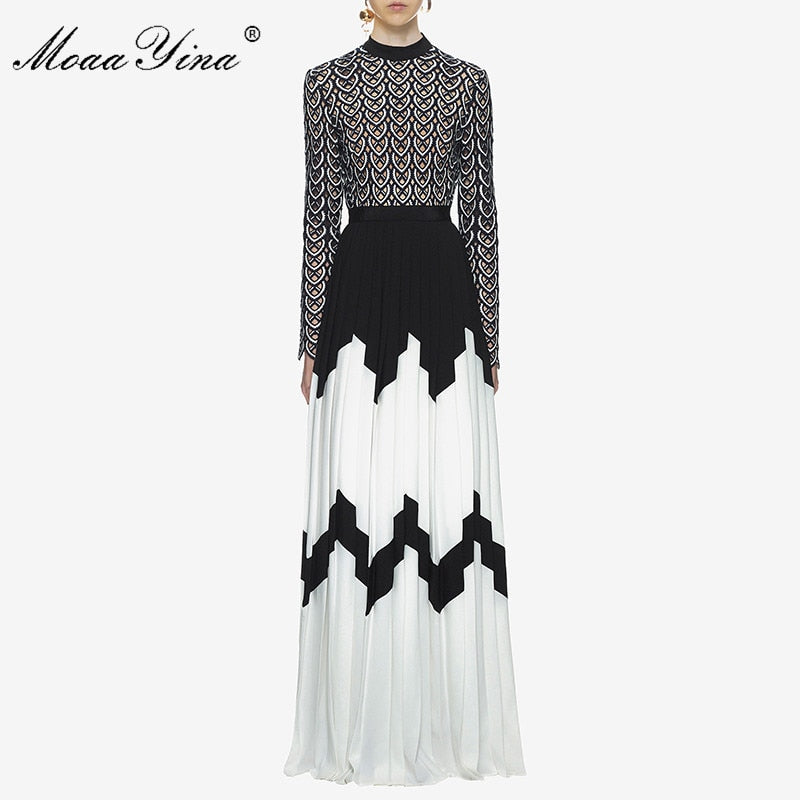 f3cf0f112a21c MoaaYina Fashion Designer Runway Dress Summer Women Long sleeve Stand  collar Hollow out Patchwork Split Casual Ruched Maxi Dress
