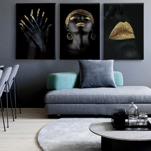 Image of Modern Photo Pictures Black Sexy Girl Lips Gold Canvas Painting Wall Art For Living Room Home Decor Posters and Prints