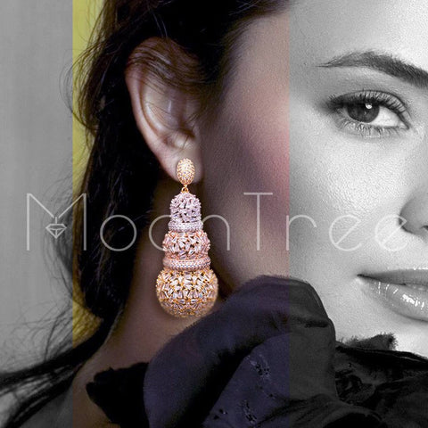 MoonTree 68mm  Gourd Luxury Design Full Micro Cubic Zirconia African Engagement Party Dress Earring Fashion Jewelry for Women