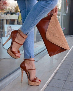 Moraima Snc Fashion Brown Leather High Heel Sandals Summer Sexy Open Toe Ankle Strap Platform Dress Shoes Woman Gladiator Heels