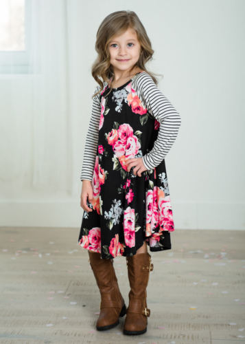 679f94e4cfc1 Click to expand · Mother Daughter Family Matching Dress Summer Casual  Womens Girls Floral Stripe Patchwork Long ...