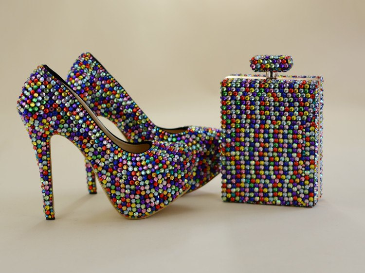 ... Multicolor crystal women Wedding shoes with matching bags fashion shoe  and bag sets Bride party dress c2ac260e719e