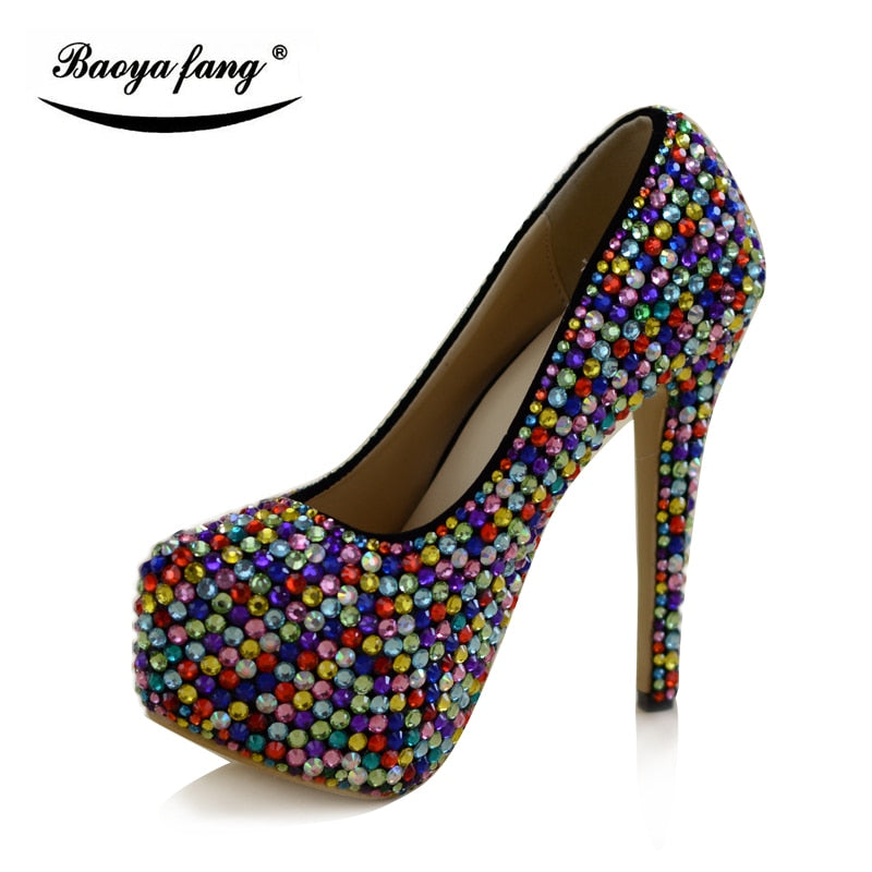 ... Multicolor crystal women Wedding shoes with matching bags fashion shoe  and bag sets Bride party dress ... dcc0e0697b4b