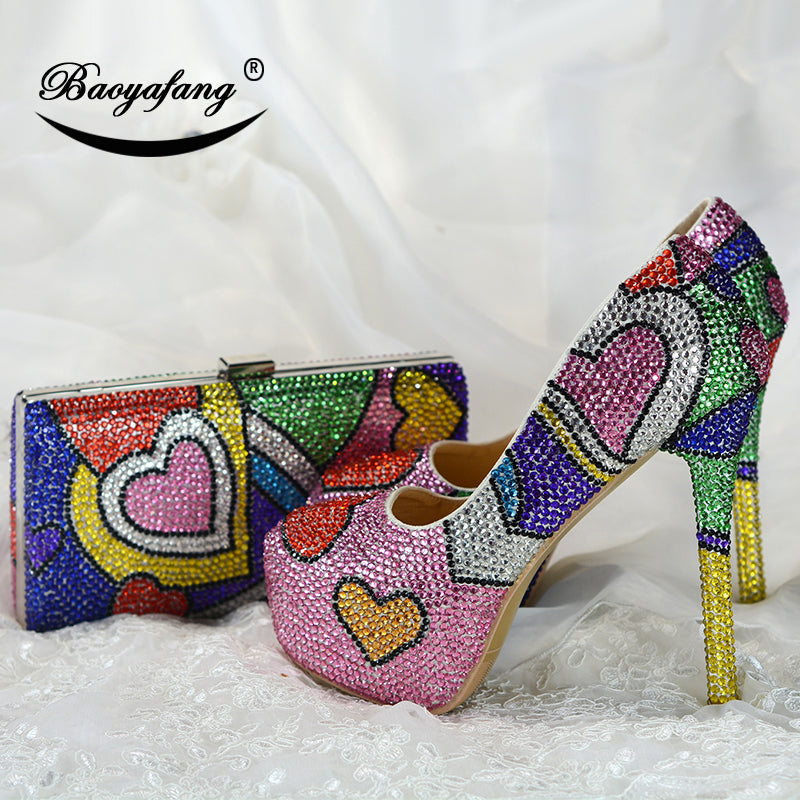 36a13f2600cf Multicolored cyrstal wedding shoes with matching bags fashion shoes womens  Pumps High heels Party dress shoe