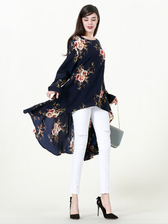 a835cb1ddd ... Muslim Abaya Dress Shirt Blouse Tops Print Flower Loose Style Plus Size  Islamic Clothing Middle East ...