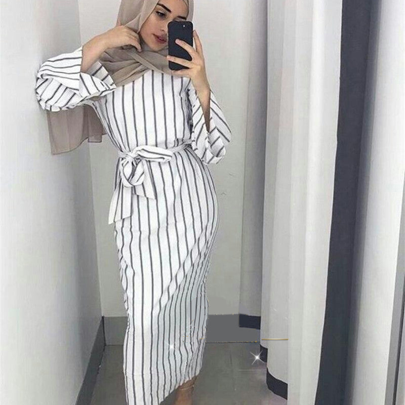 876cadd677c Muslim Stripe Maxi Dress Trumpet Sleeve Abaya Long Skirt Robe Gowns Tunic Kimono  Jubah Middle East. Hover to zoom