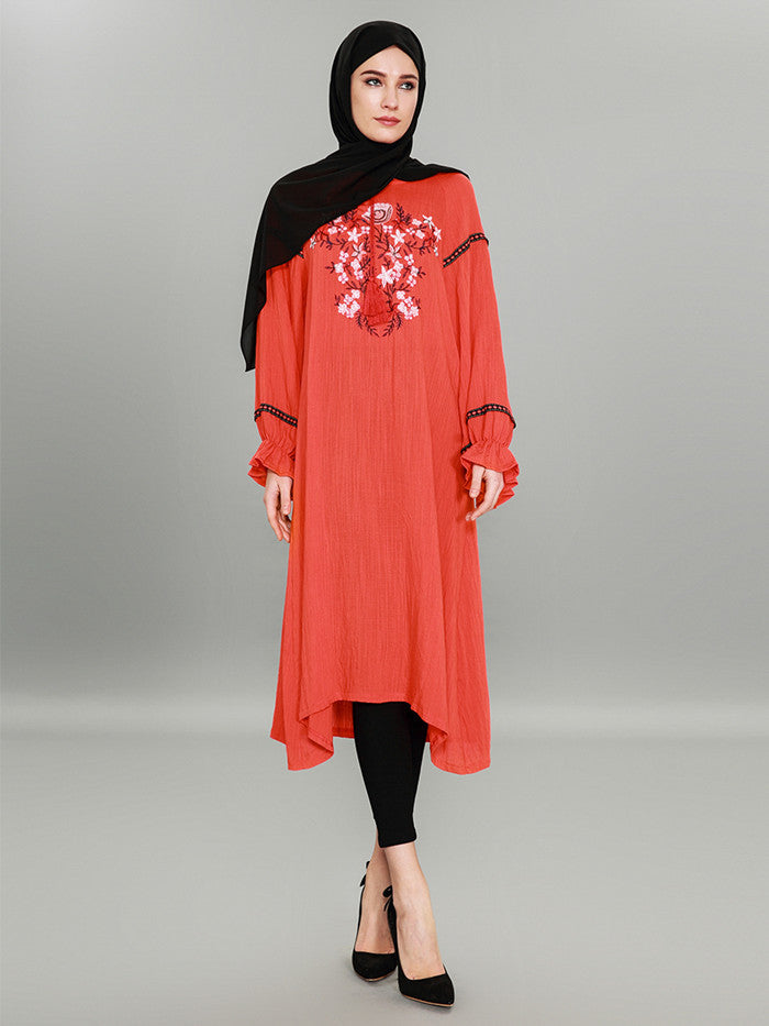 b51a785db990f5 Hover to zoom · Muslim Women Embroidery Dress Islamic Abaya Maxi Under  split Long Sleeve Cocktail ...